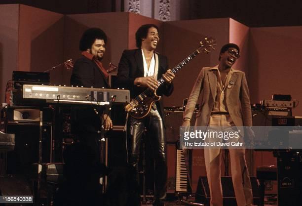 Jazz keyboardist George Duke jazz bassist Stanley Clarke and jazz keyboardist Herbie Hancock perform on stage in the jazz evening One Night Stand A...