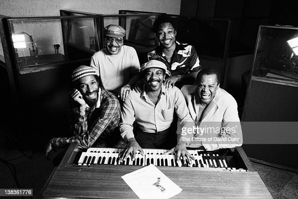 Jazz legends Ron Carter Grady Tate Jimmy Smith George Benson and Stanley Turrentine pose for a portrait during a recording session for organist Jimmy...