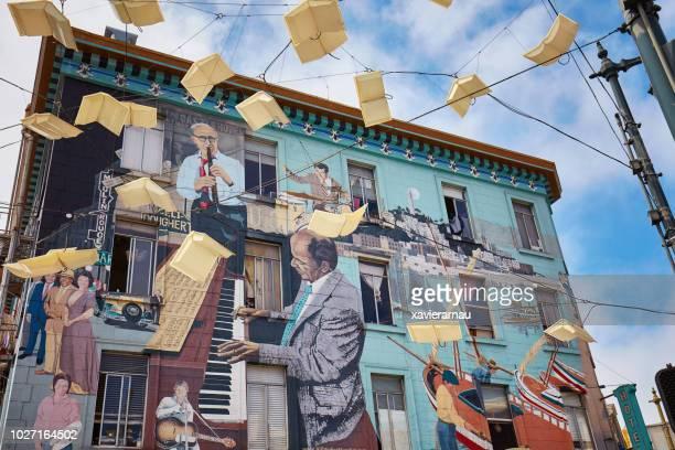 jazz mural in san francisco - murale foto e immagini stock
