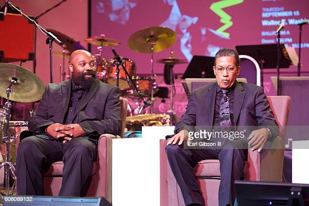 Jazz musician Allyn Johnson and jazz drummer Nasar Abadey attend the 31st Anniversary Celebration Jazz Concert at Walter E Washington Convention...
