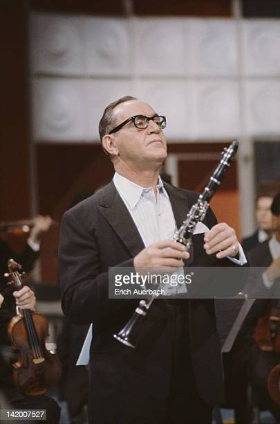 Jazz musician and band leader Benny Goodman holding a clarinet 1960
