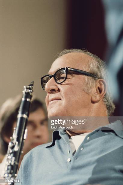 Jazz musician and band leader Benny Goodman holding a clarinet 1968