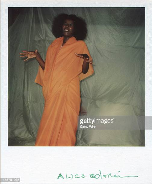 Jazz musician and composer Alice Coltrane poses for a Polaroid portrait circa 1975 in Los Angeles California