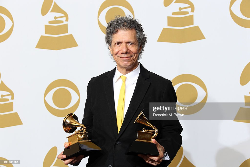 Jazz musician Chick Corea, winner of Best Improvised Jazz Solo for 'Hot House' and Best Instrumental Composition for 'Mozart Goes Dancing,' poses in the press room at the 55th Annual GRAMMY Awards at Staples Center on February 10, 2013 in Los Angeles, California.