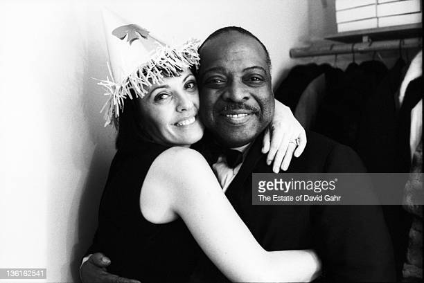Jazz musician Count Basie and singer Keely Smith celebrate New Years Eve on December 31 1963 in New York City New York