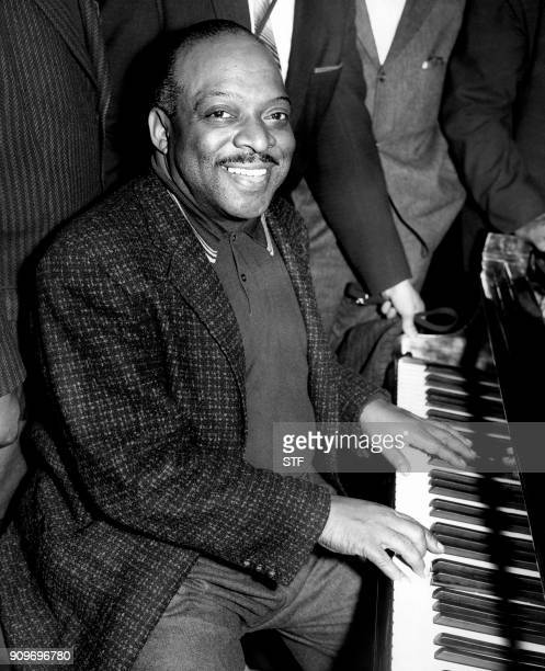 US jazz musician Count Basie performs at the Royal Festival Hall in London on April 2 1957 / AFP PHOTO / STF
