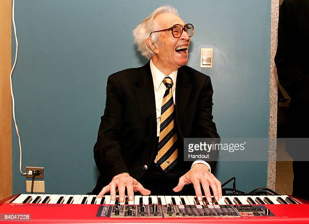 Jazz musician Dave Brubeck plays a keyboard at his induction with 12 other honorees into the 2008 California Hall of Fame at The California Museum on...
