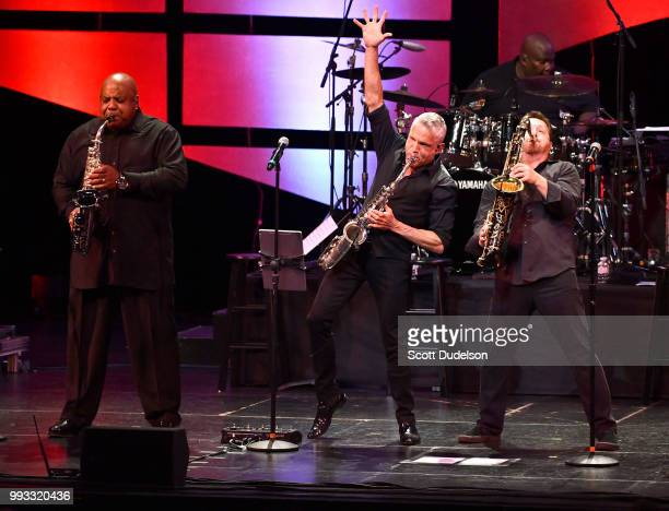Jazz musician Dave Koz appears on stage during the 'Dave Koz and Friends Summer Horns Tour' at Thousand Oaks Civic Arts Plaza on July 6 2018 in...