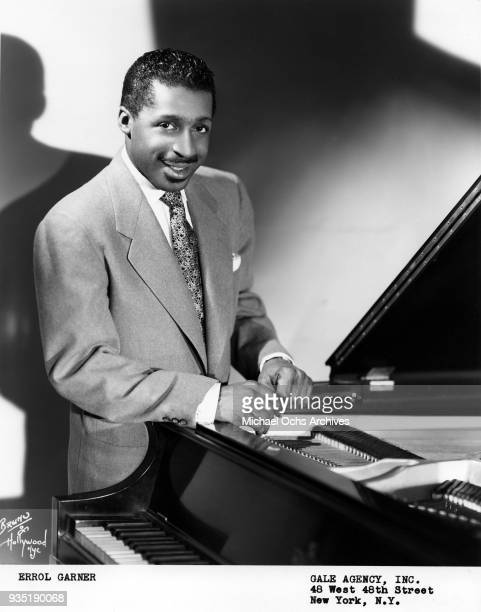 Jazz musician Erroll Garner poses for a portrait at the piano in 1948 in New York New York