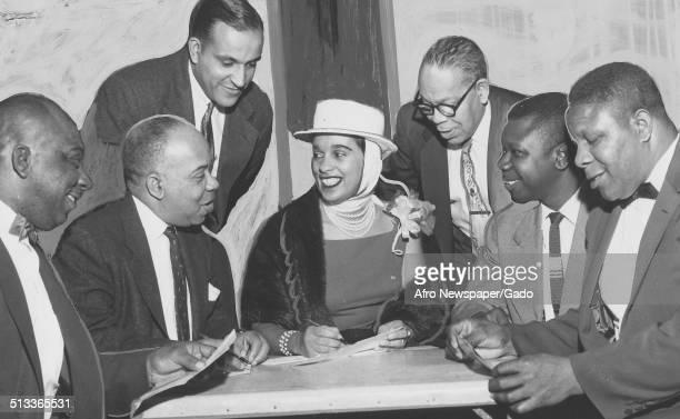 Jazz musician Harry Belafontes wife Marguerite Belafonte and men April 1957