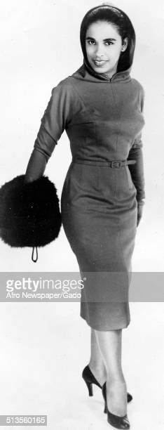 Jazz musician Harry Belafontes wife Marguerite Belafonte modeling during an NAACP Fashions for Freedom event Raleigh North Carolina 1958