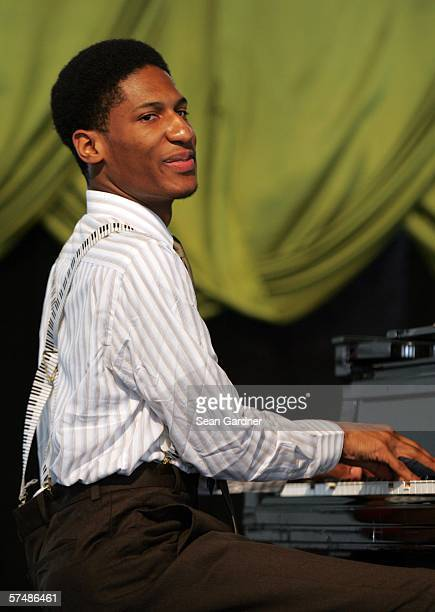 Jazz Musician Jonathan Batiste performs at the New Orleans Jazz Heritage Festival April 28 2006 in New Orleans Louisiana