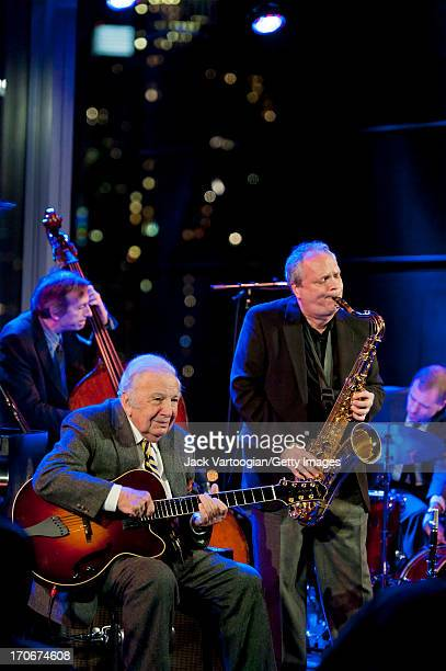 Jazz musician Ken Peplowski on tenor saxophone leads his quintet during the Jazz at Lincoln Center's 'American Anthems' performance at Dizzy's Club...