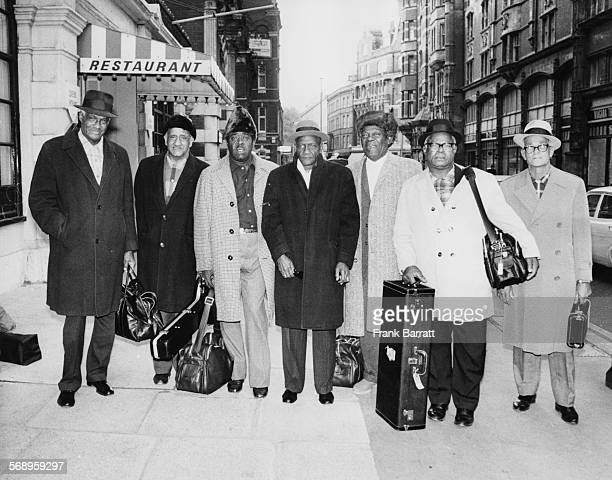 Jazz musician Kid Thomas and the Preservation Hall Band pictured as they arrive in London for the Jazz Weekend England November 10th 1971