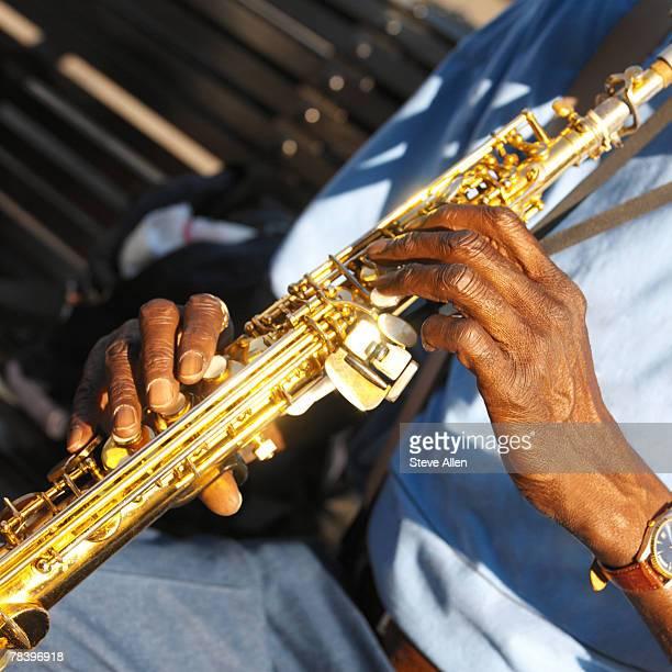 jazz musician playing soprano sax, New Orleans, Louisiana