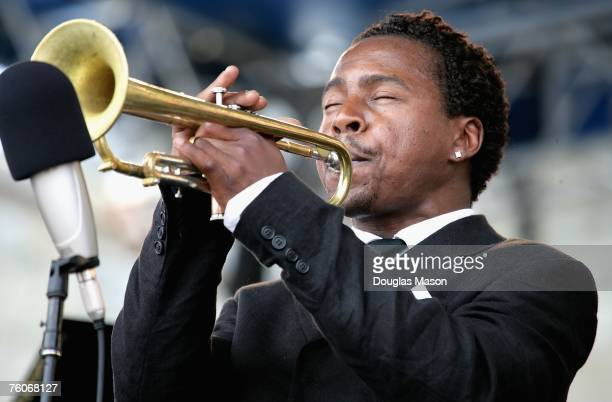 Jazz musician Roy Hargrove performs at the JVC Jazz Festival Newport at Fort Adams State Park August 12 2007 in Newport Rhode Island