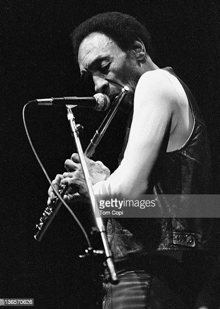 Jazz musician Sam Rivers performs at the Wheeler Auditorium on the campus of UCBerkeley in 1981 in Berkeley, California.