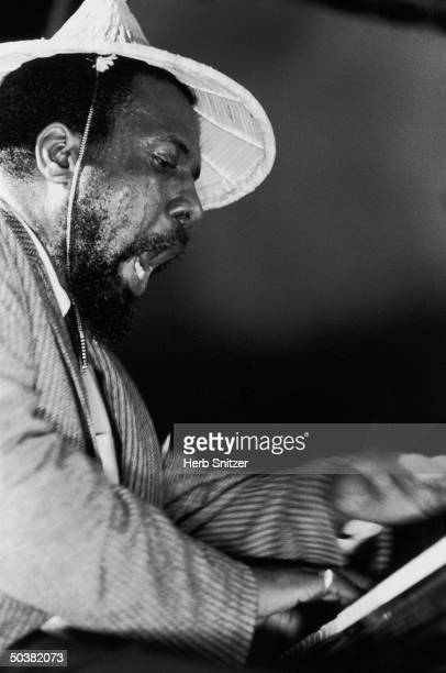 Jazz musician Thelonious Monk playing piano