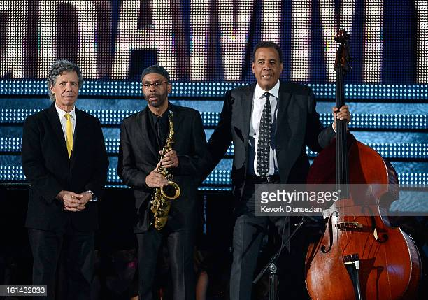 Jazz musicians Chick Corea, Kenny Garrett and Stanley Clarke onstage at the 55th Annual GRAMMY Awards at Staples Center on February 10, 2013 in Los...
