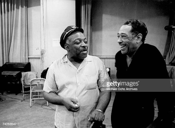 Jazz musicians Count Basie and Duke Ellington work on their album 'The Count Meets The Duke' which was released in 1961