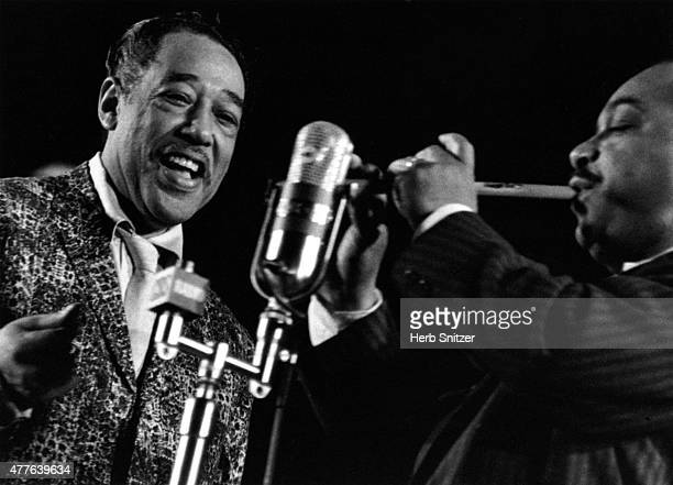 Jazz musicians Duke Ellington and Russell Procope performing at Randall's Island Jazz Fest in 1959 in New York City NY