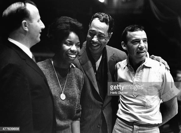 Jazz musicians George Shearing Nina Simone Duke Ellington and Buddy Rich pose for a portrait at Madison Square Garden Jazz Festival in 1959 in New...