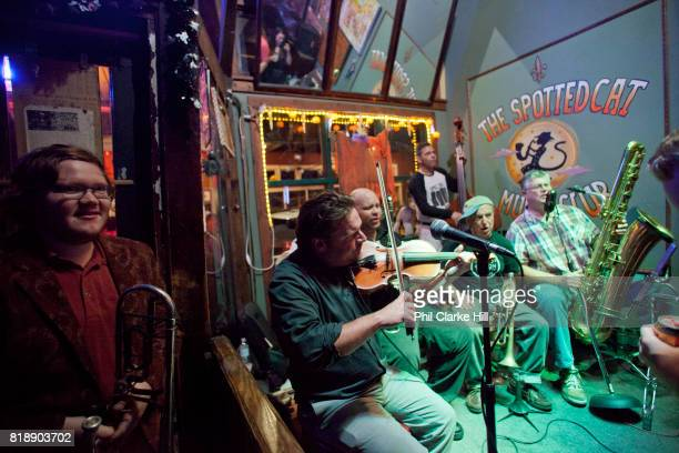 Jazz musicians playing in the Spotted Cat jazz bar on Frenchman street New Orleans Louisiana USA