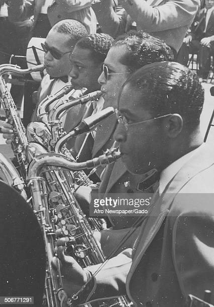 A Jazz orchestra during the Great Carnival of Swing Randalls Island New York 1938