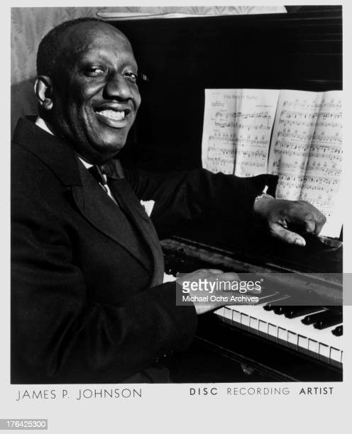Jazz pianist and composer James P Johnsonl poses for a portrait circa 1945