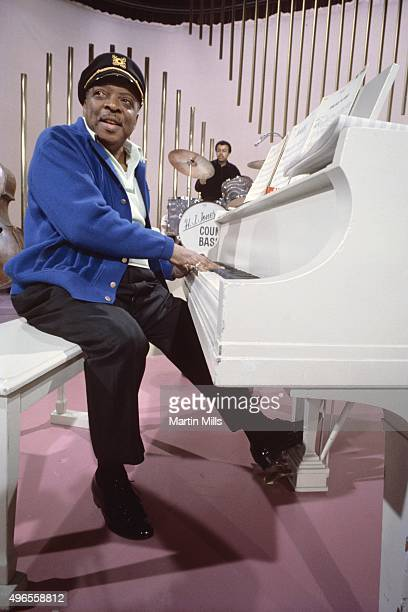 Jazz pianist and composer William James 'Count' Basie performs on a TV show circa 1972 in Los Angeles California