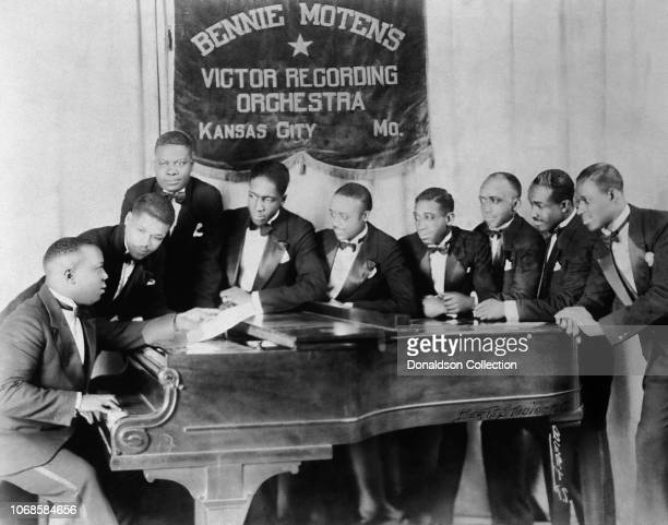 Jazz pianist Benny Moten and his Orchestra pose for a portrait in 1926 in Kansas City Missouri