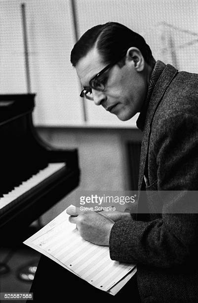 Jazz pianist Bill Evans at Riverside recording studios in New York