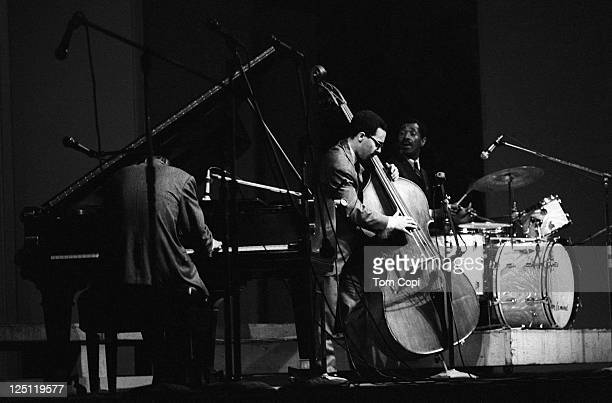 Jazz pianist Bill Evans performs on stage with his Trio Eddie Gomez on bass and Don Leonard on drums at the Newport Jazz Festival on July 2, 1967 in...