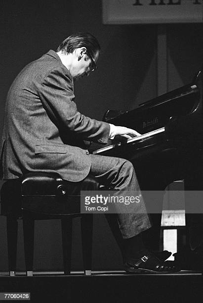 Jazz pianist Bill Evans performs onstage on July 2 1967 at the Newport Jazz Festival in Newport Rhode Island