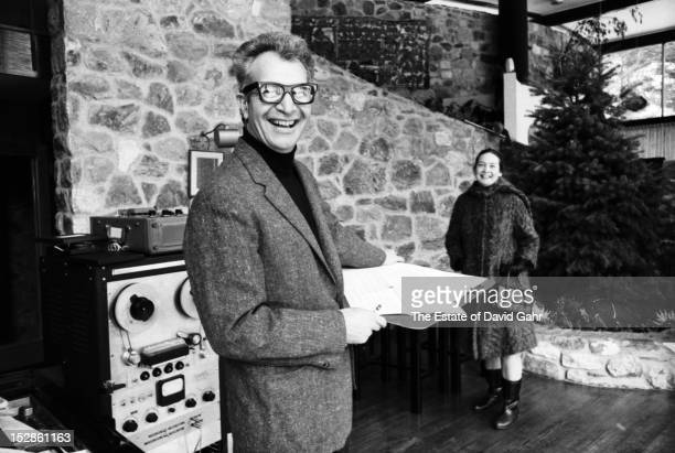 Jazz pianist, composer, and bandleader Dave Brubeck poses for a portrait in January, 1968 with his wife, Iola Brubeck, at the Brubeck family home in...