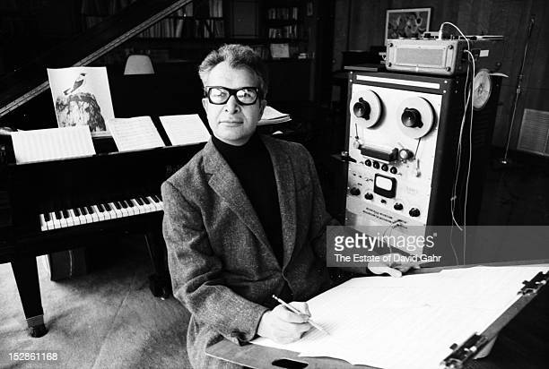 Jazz pianist, composer, and bandleader Dave Brubeck poses for a portrait in January, 1968 in his music studio at the Brubeck family home in...
