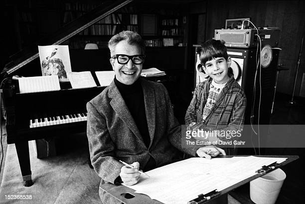 Jazz pianist, composer, and bandleader Dave Brubeck poses for a portrait, with his son, Dan Brubeck, in January 1968 at the Brubeck family home in...