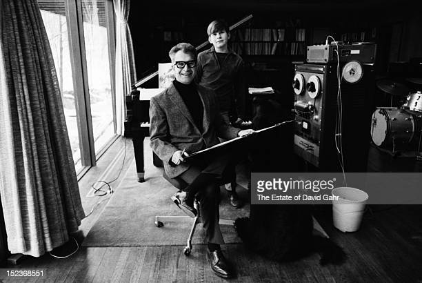 Jazz pianist, composer, and bandleader Dave Brubeck poses for a portrait, with his son, Chris Brubeck, in January, 1968 at the family's home in...