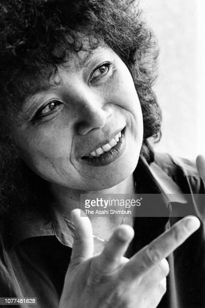 Jazz Pianist Toshiko Akiyoshi speaks during the Asahi Shimbun interview on August 28 1982 in Tokyo Japan