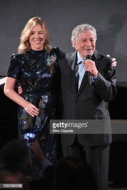 Jazz pianist/singer Diana Krall and singer Tony Bennett celebrate the release of their new album at The Rainbow Room on September 12 2018 in New York...