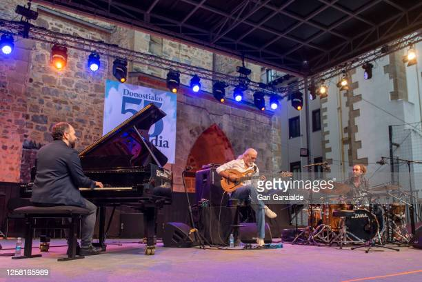 Jazz piano player Roger Mas Bass player Carles Benavent and percussionist Aleix Tobias perform on stage with the Carles Benavent Trío during the 55th...