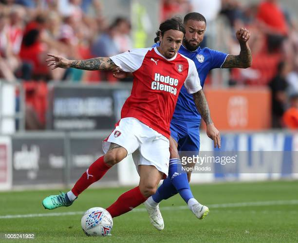 Jazz Richards of Cardiff City challenges Ryan Williams of Rotherham United during the at PreSeason Friendly match between Rotherham United and...