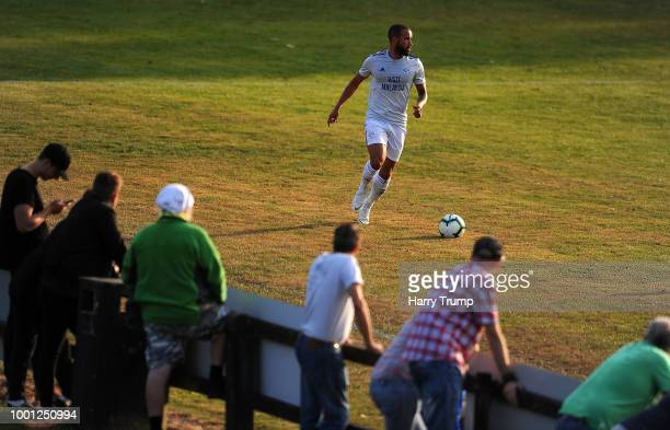 Jazz Richards of Cardiff City makes a break during the PreSeason Friendly match between Bodmin Town and Cardiff City at Priory Park on July 18 2018...