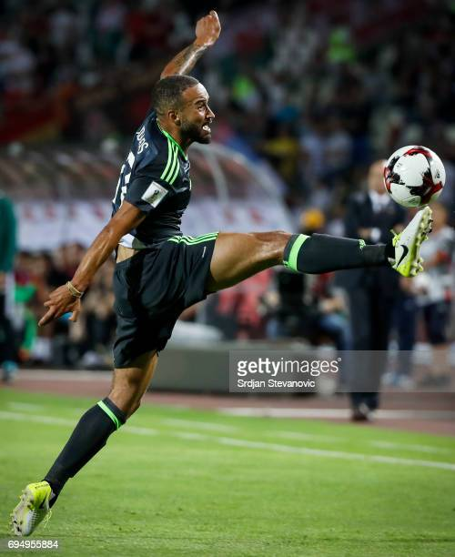 Jazz Richards of Wales in action during the FIFA 2018 World Cup Qualifier between Serbia and Wales at stadium Rajko Mitic on June 11 2017 in Belgrade...