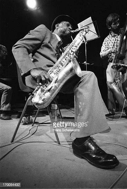 Jazz sax player Archie Shepp performs with Mark Dresser at the BIM Huis in Amsterdam Netherlands on 19th October 1987