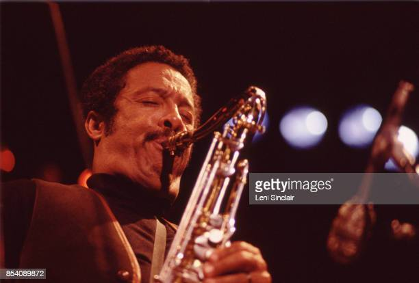 Jazz saxophone musician Johnny Griffin performing with Dexter Gordon and Freddie Hubbard during the Ann Arbor Jazz Festival at Hill Auditorium in Ann...