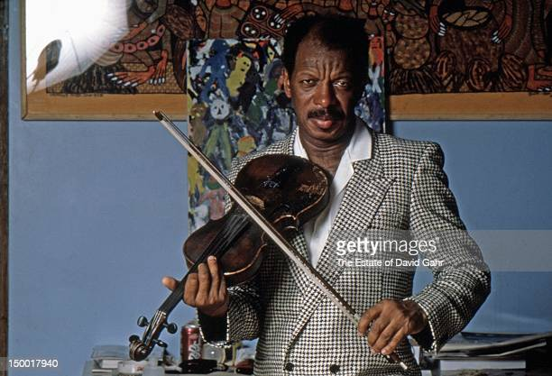 Jazz saxophonist composer and band leader Ornette Coleman poses for a portrait at home in May 1986 in New York City New York