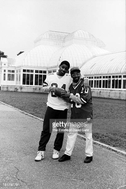 Jazz saxophonist composer and bandleader Branford Marsalis and filmmaker Spike Lee pose for a portrait on November 17 1982 at the Brooklyn Botanical...