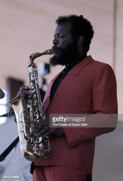 Jazz saxophonist composer and bandleader Ornette Coleman performs at the Newport Jazz Festival in July 1971 in Newport Rhode Island