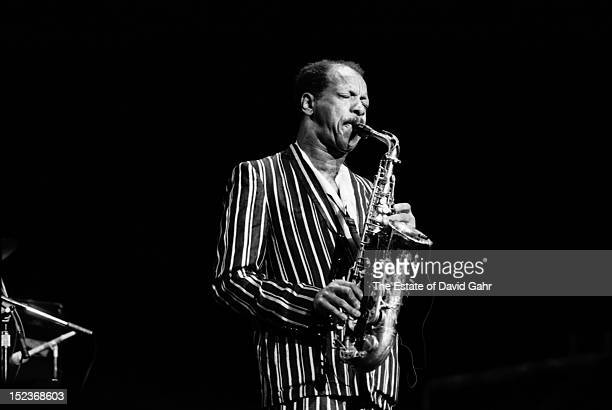 Jazz saxophonist composer musician and bandleader Ornette Coleman performs on May 1986 at the Palace Theatre in New Haven Connecticut